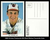 1985 Orioles Postcards #24 Best Wishes Facsimile Auto