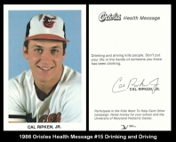 1986 Orioles Health Message #15 Drinking and Driving