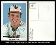 1986 Orioles Postcards #15 Best Wishes Facsimile Auto