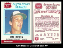 1986 Meadow Gold Stat Back #11
