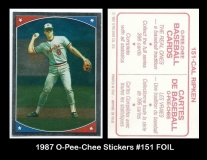 1987 O-Pee-Chee Stickers #151 FOIL
