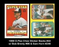 1988 O-Pee-Chee Sticker Backs #44 w Bob Brenly #96 & Sam Horn #246