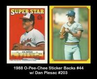 1988 O-Pee-Chee Sticker Backs #44 w Dan Plesac #203