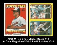 1988 O-Pee-Chee Sticker Backs #44 w Dave Magadan #104 & Scott Fletcher #241
