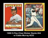 1988 O-Pee-Chee Sticker Backs #44 w Eddie Murray #233