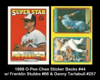1988 O-Pee-Chee Sticker Backs #44 w Franklin Stubbs #66 & Danny Tartabull #257