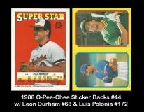 1988 O-Pee-Chee Sticker Backs #44 w Leon Durham #63 & Luis Polonia #172