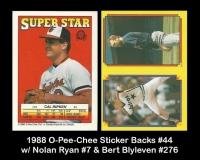 1988 O-Pee-Chee Sticker Backs #44 w Nolan Ryan #7 & Bery Blyleven #276