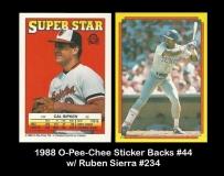 1988 O-Pee-Chee Sticker Backs #44 w Ruben Sierra #234