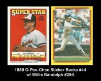 1988 O-Pee-Chee Sticker Backs #44 w Willie Randolph #294