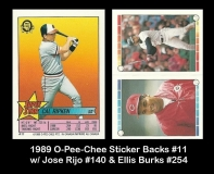 1989 O-Pee-Chee Sticker Backs #11 w Jose Rio #140 & Ellis Burks #254