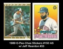 1989 O-Pee-Chee Stickers #150 AS w Jeff Reardon #33