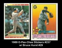 1989 O-Pee-Chee Stickers #237 w Bruce Hurst #29