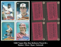 1989 Topps Wax Box Bottoms Panel #I-L