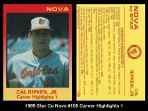 1989 Star Co Nova #150 Career Highlights 1