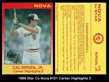 1989 Star Co Nova #151 Career Highlights 2