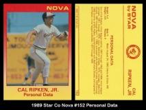 1989 Star Co Nova #152 Personal Data