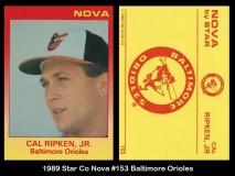 1989 Star Co Nova #153 Baltimore Orioles