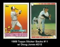1989 Topps Sticker Backs #11 w Doug Jones #215