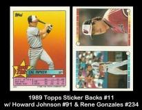 1989 Topps Sticker Backs #11 w Howard Johnson #91 & Rene Gonzales #234