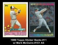 1989 Topps Sticker Backs #11 w Mark McGwire #151 AS