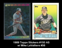 1989 Topps Stickers #150 AS w Mike LaValliere #56
