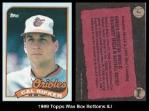 1989 Topps Wax Box Bottoms #J