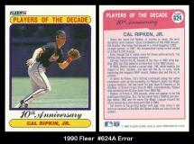 1990 Fleer #624A Error