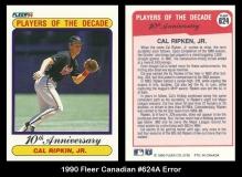 1990 Fleer Canadian #624A Error