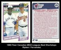 1990 Fleer Canadian #634 Leagues Best Shortstops
