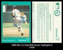 1990 Star Co Gold #78 Career Highlights 2