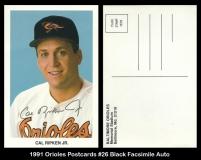 1991 Orioles Postcards #26 Black Facsimile Auto