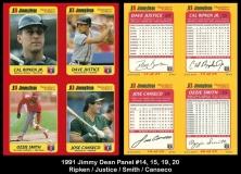 1991 Jimmy Dean Panel #14 15 19 20