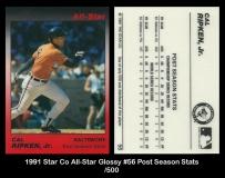 1991 Star Co All-Star Glossy #56 Post Season Stats