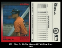 1991 Star Co All-Star Glossy #57 All-Star Stats