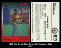 1991 Star Co All-Star Glossy #63 Personal Data