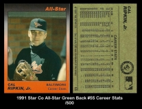 1991 Star Co All-Star Green Back #55 Career Stats