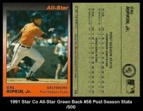 1991 Star Co All-Star Green Back #56 Post Season Stats
