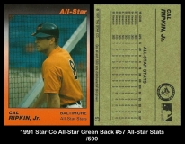 1991 Star Co All-Star Green Back #57 All-Star Stats