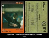 1991 Star Co All-Star Green Back #58 Ironman