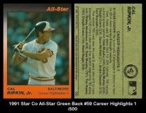 1991 Star Co All-Star Green Back #59 Career Highlights 1