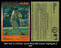 1991 Star Co All-Star Green Back #60 Career Highlights 2