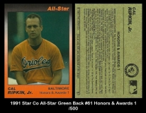 1991 Star Co All-Star Green Back #61 Honors & Awards 1