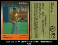 1991 Star Co All-Star Green Back #63 Personal Data