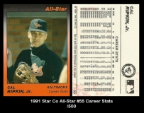 1991 Star Co All-Star #55 Career Stats