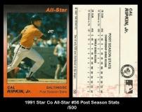 1991 Star Co All-Star #56 Post Season Stats