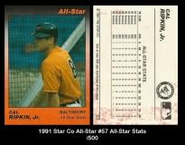 1991 Star Co All-Star #57 All-Star Stats