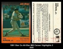 1991 Star Co All-Star #60 Career Highlights 2