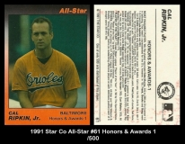 1991 Star Co All-Star #61 Honors & Awards 1