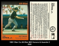 1991 Star Co All-Star #62 Honors & Awards 2
